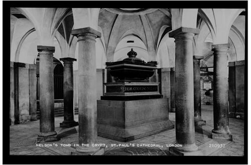 Nelson's Tomb in the Crypt, St Paul's Cathedral, London.