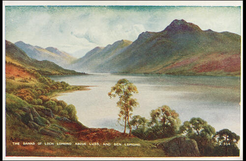 The Banks of Loch Lomond above Luss and Ben Lomond.