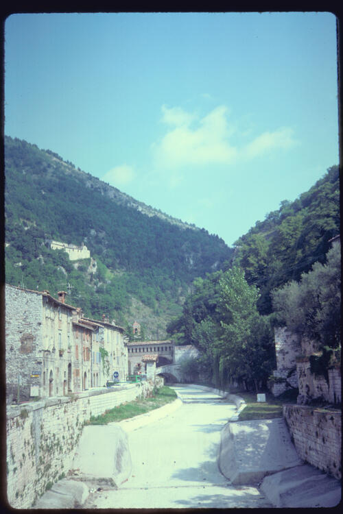 The river bed of the Torrente, Gubbio, Italy.