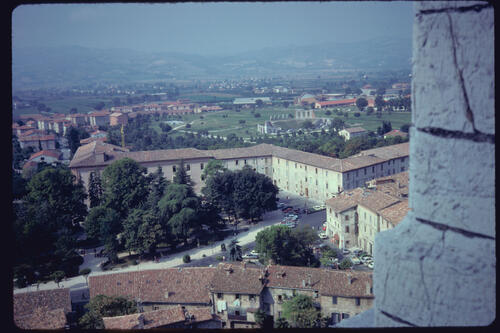 View with the Roman Theatre, Gubbio, Italy.
