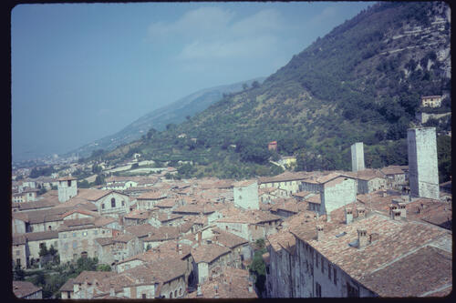 View of the roof-tops, Gubbio, Italy.