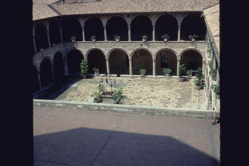 The Cloister of the Basilica of San Francesco, Assisi, Italy.