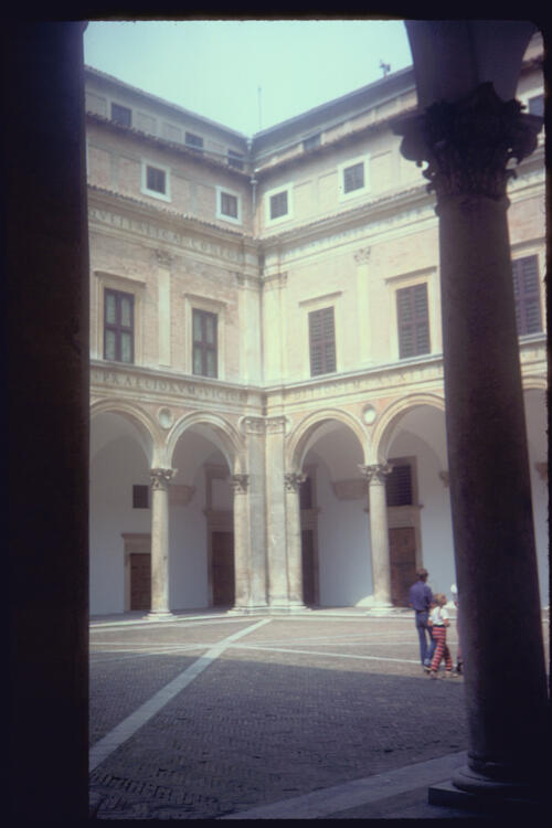 The Ducal Palace Courtyard, Urbino, Italy.
