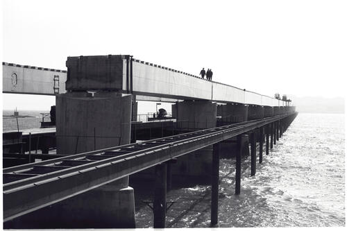 Erected Girders at Dundee end, Tay Road Bridge.