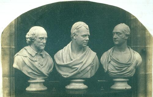 [Three marble busts of William Shakespeare, Walter Scott and George Canning].