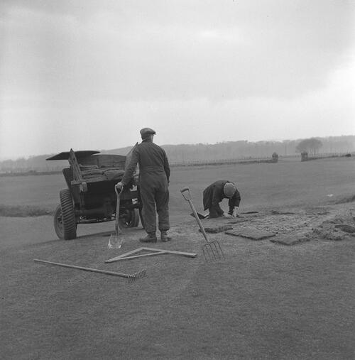 Returfing on the Old Course.