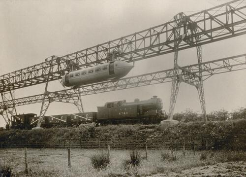 The George Bennie Railplane at Milngavie, near Glasgow.