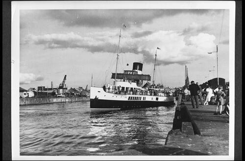 "Pleasure Steamer ""Caledonia"" at Ayr Harbour."
