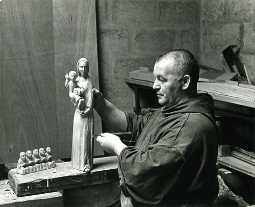 Woodcarver, Pluscarden Priory.