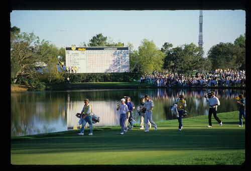 Winner Paul Azinger and Runner-up Tom Kite approaching the 18th green in the 1988 Hertz Bay Hill Classic tournament