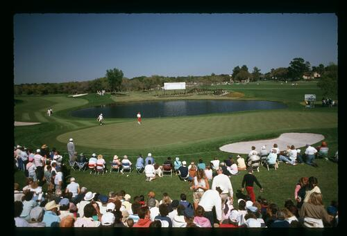 Payne Stewart and Tom Watson approaching the 8th green at the 1989 Nestle Invitational