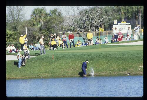 South African David Frost plays his shot from the water's edge to the 11th green at the Bay Hill Classic