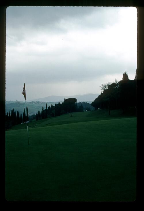 The 18th green during the 1983 Paco Rabanne Italian Open