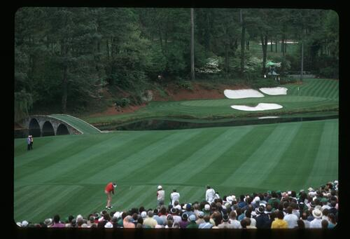 Ray Floyd Hitting His Tee Shot from the 12th Hole at the 1985 Masters Golf Tournament