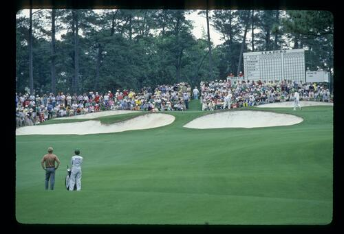 Hal Sutton waiting to hit his approach to the well-defended seventh hole at the 1984 Masters