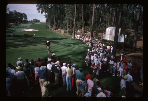 Golfer Lanny Wadkins Eyeing a Difficult Pitch on the 10th Hole at the 1987 Masters Golf Tournament