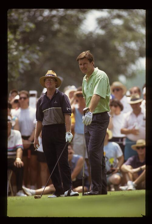 Golfers Tom Kite and Nick Faldo waiting on the tee at the 1993 US Open