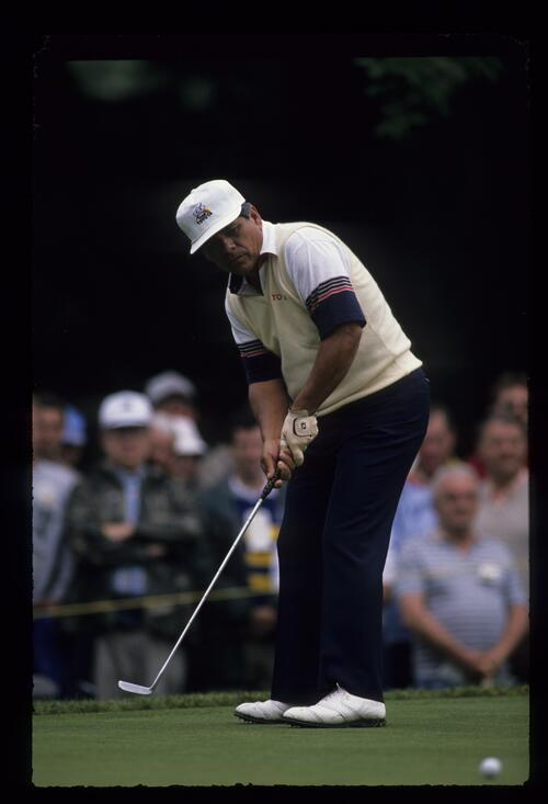 Lee Trevino putting out at the United States Open Championship