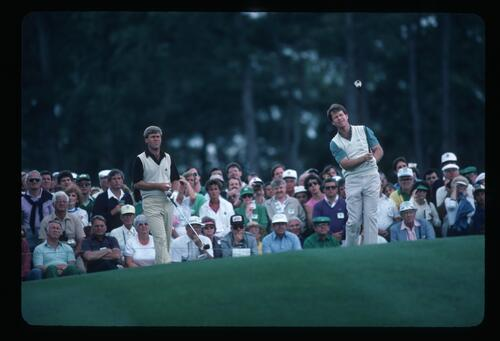 Tom Watson on the tee with fellow competitor Hal Sutton at the 1985 Masters Championship in Augusta