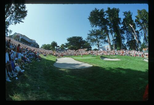 Large crowds surround the 18th green at the 1987 US Open Championship at the Olympic Club
