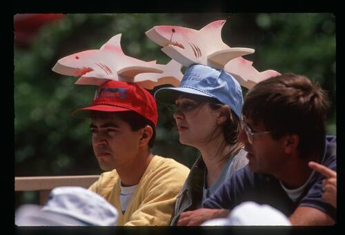 Two Greg Norman fans sporting 'Shark Attack' hats at the1989 US Open Championship