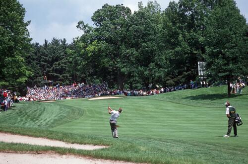 Steve Elkington plays his iron shot into the green at the 1989 USOpen Championship at Oak Hill