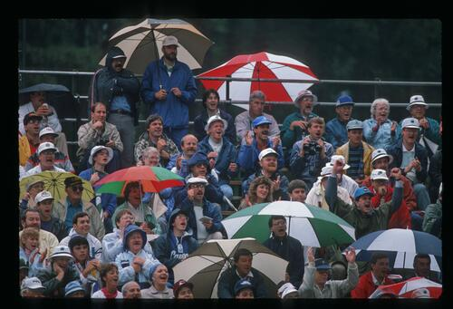 A view of an exhuberant crowd despite the rain at the 1989 US Open Championship