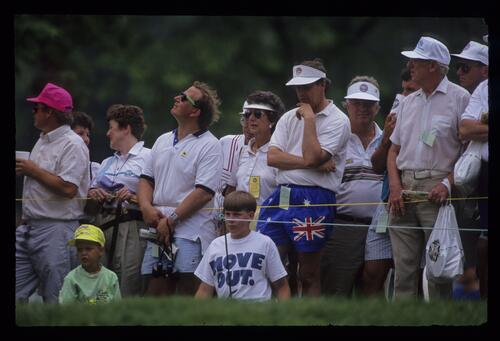 Spectators watch the action at the United States Open Championship