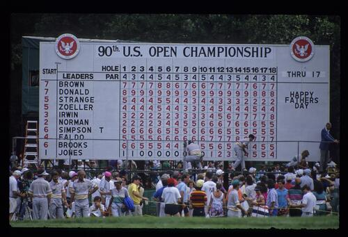 The crowds watch as the scores are posted at the United States Open Championship