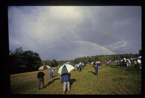 A double rainbow covers the course at the World Match Play Championship at Wentworth