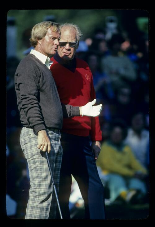 Jack Nicklaus chats with President Gerald Ford at the 1982 Bing Crosby National Pro-Am at Pebble Beach