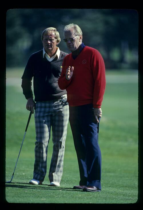 Jack Nicklaus and President Gerald Ford discuss tactics at the 1982 Bing Crosby National Pro-Am at Pebble Beach