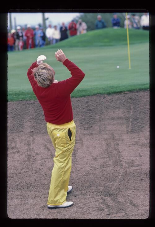 Jack Nicklaus looks heavenward after playing his bunker shot at the 1984 Skins Game