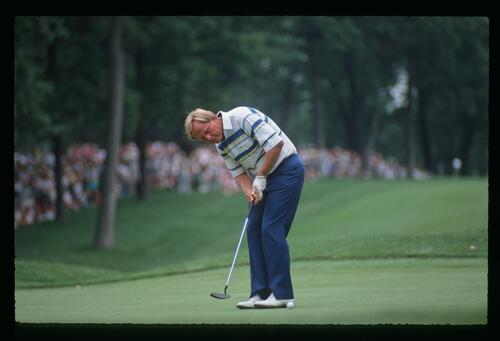 Jack Nicklaus putting at the United States Open Championship