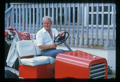 Arnold Palmer on his tractor at Bay Hill