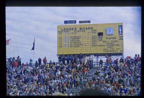 A view of the final scoreboard at the 1985 Open Championship congratulating the winner Sandy Lyle
