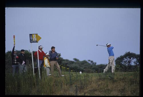 American golfer Tom Kite on the 5th tee at the 1987 Open Championship at Muirfield