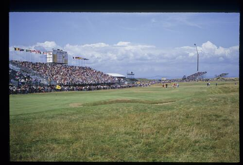 A scenic view of the approach to the 18th hole at Muirfield during the 1992 Open Championship