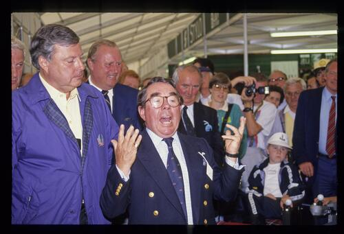 Actor Ronnie Corbett makes an appearance in support of the Peter Alliss Charity at the 1987 Open Championship at Muirfield