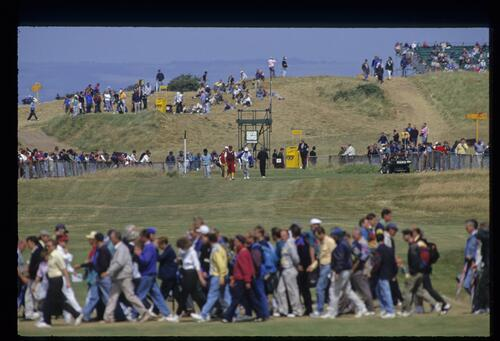 Golfer Payne Stewart leaves the tee box at the 1992 Open Championship at Muirfield