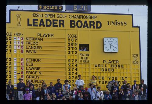 The final day scoreboard at the 1993 Open Championship at Royal St Georges