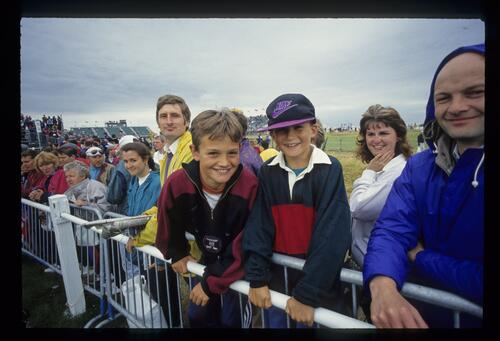 Young spectators enjoy the action at The Open Championship at Royal St Georges