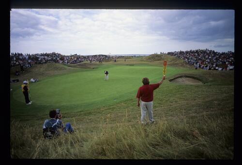 Putting out on the 6th hole on Day 3 of The Open Championship at Royal St Georges