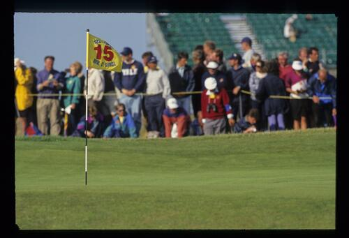 A view of the flagstick on the 15th green at The Open Championship