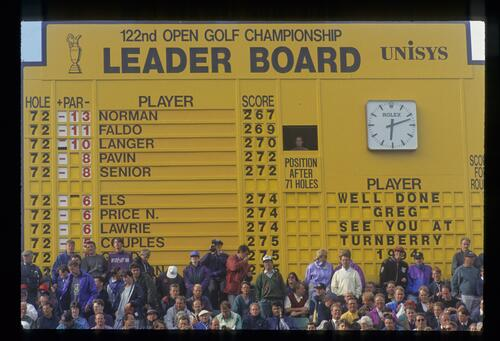 The final day leader board at the 1993 Open Championship at Royal St Georges