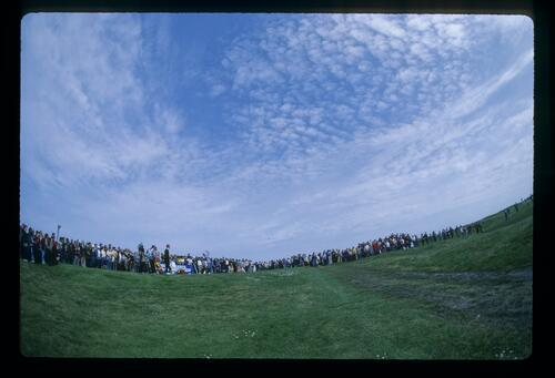 A wide angle view of the tee box at the 1983 Sun Alliance Birtish PGA Championship