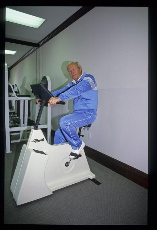 Arnold Palmer getting some exercise on the lifecycle