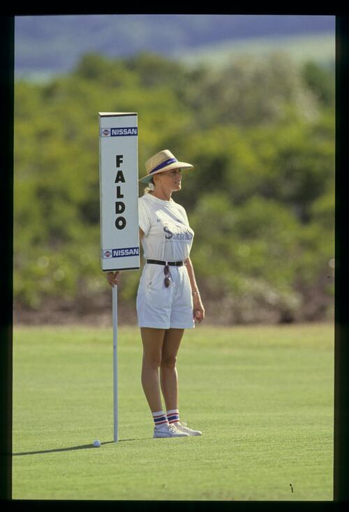 Nick Faldo's forecaddie at the 1990 Australian Super Skins Game