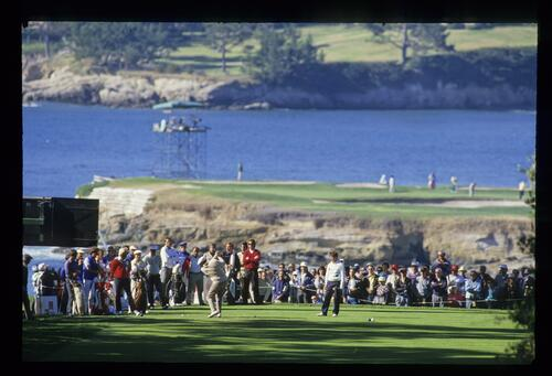 On the tee at the 1988 AT&T Pro-Am at Pebble Beach