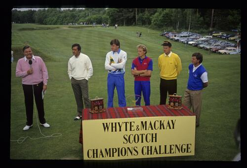 Peter Alliss announces the winners at the 1988 Whyte & Mackay Scotch Champions Challenge